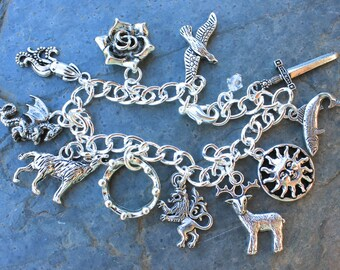 Game of Thrones Inspired Fantasy Charm Bracelet- Stag, Wolf, Lion, Dragon, Kraken, Sun, Trout, Falcon, Rose, Sword, Crown- Free shipping USA