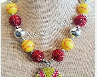 Softball Chunky Necklace