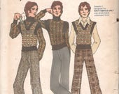 Butterick 6791 1970s Kenzo of J.A.P. Mens Flared Pants and Pullover Sweaters Pattern Adult Mod Vintage Sewing Pattern Chest 44 UNCUT
