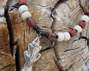 Silver Beaver Necklace w Antique Fur Trade Beads in Brick Brown and White