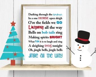 jingle bells wall hanging, christmas print, digital christmas, jingle bells, wall hanging,