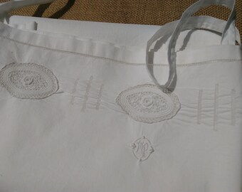 Victorian White Dress Rose Lace Inlay Monogram Hand Embroidered Cut Works Handmade French Cotton Slip Medium #SophieLadyDeParis