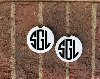 Set of 2 Car Coasters, Personalized Car Coaster, Monogram Car Coaster, Vehicle Accessories, New Driver Gift