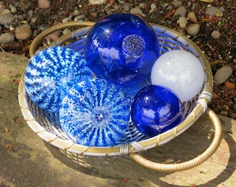 "Blue and White Spheres, Set of Five, 2.5"" to 3.5"" Blown Glass Floats, Sturdy and Decorative for Outdoors or Indoors, By Avalon Glassworks"