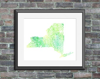 New York watercolor typography map art unframed print state poster wedding engagement graduation gift anniversary wall art decor lake house
