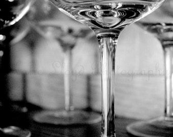Bar Art - Black and White Fine Art Photography Print - Wine Glasses - Dark Art Print - Kitchen Gallery Wall Art - Bartender Art Print