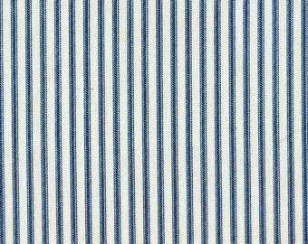 "72"" Rod Pocket Curtain Panels, French Country Nautical Blue Ticking Stripe, Unlined"