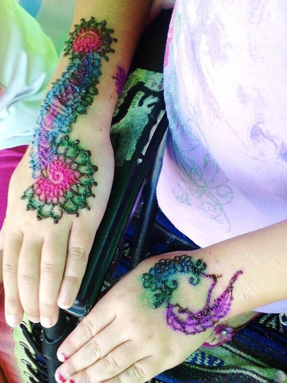 Henna Tattoo Kits: Items Similar To Henna Tattoo And Glitter Tattoo Kit With