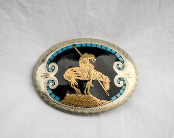 Vintage Johnson & Held turquoise inlay belt buckle