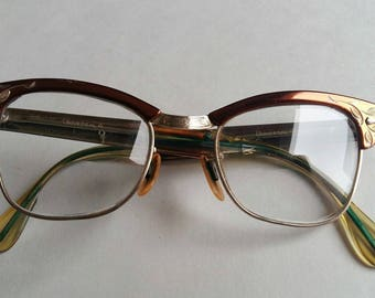 1950s Glasses, 1950s Eyeglasses, Women's Vintage Glasses, Browline Glasses, Vintage Browline, Secretary Style, Geek Style, Etched Design,
