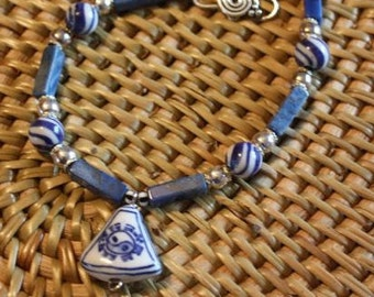 bracelet  Yin Yang --Chinese lapis blue and white hand painted porcelaine lapis  sterling beads and sterling  OOAK