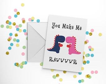 Cute couple card, gay anniversary card, romantic birthday card, dinosaur card, card for boyfriend, card for girlfriend, dinosaur print.