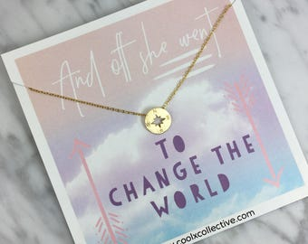 Compass necklace, grad gift, graduation gift, travel gift, wanderlust, world traveler, promotion, new job, grad school, inspirational gift