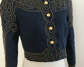 Vintage 1980s does 1940s Soutache Jacket / Vintage 80s Embroidered Jacket