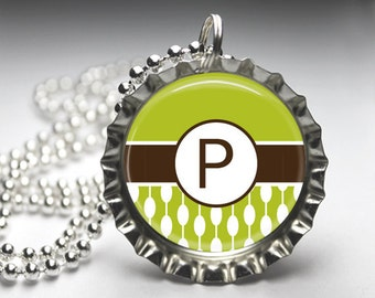 Green Brown Alphabet Initial Monogram Custom Pendant Necklace - Bottlecap Pendant Jewelry - Free Ball Chain