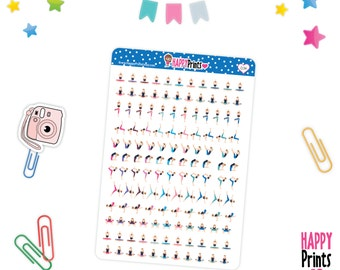 H 034) -- Mini Yoga Stickers, perfect for Planners