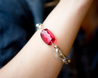 Chunky Silver Chain Bracelet with an extra large Ruby Red Crystal and a Toggle Clasp