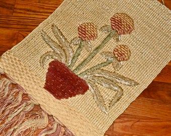 Vintage wall art boho hippie tapestry retro flower wall hanging string art India handmade fiber art jute housewarming textile