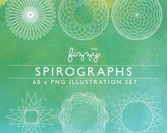 PNG: 60 x Spirograph illustrations frame border digital clipart in PNG 300dpi format. CA0065