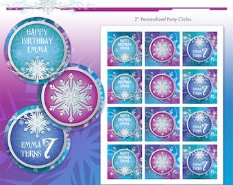 "Frozen Princess Winter Snowflakes Printable 2"" Birthday Party Circles - DIY - Do-It-Yourself Printables - Ice Princess - Cupcake Toppers"