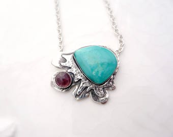 Unique Blue Gem and Pink Tourmaline Pendant -  Argentium Sterling Silver, Gem Quality Turquoise,  Tiffany Cable Chain, Necklace
