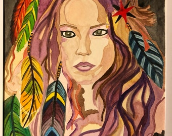 Original watercolor Native American woman