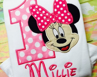 Minnie Mouse Birthday Shirt / Personalized /Birthday/ Minnie  Shirt / Pink/ Purple / Red / Minnie party shirt