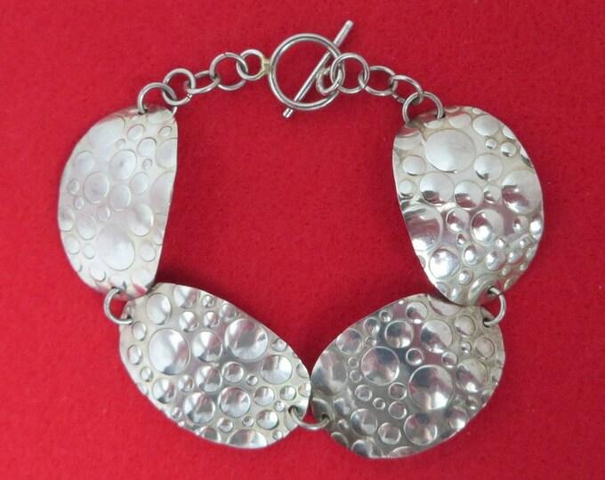 Hammered Bracelet, Vintage Boho Bracelet, Bubble Bracelet, Silver Tone Costume Jewelry, Chain Link Bracelet