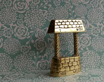 1960's I Wish You Well Brass Gift - Wishing Well Cross Section - Ideal Get Well Soon Present