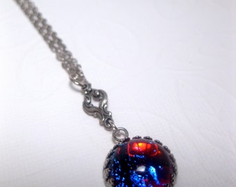 Wee Dime Size Dragons Breath Opal Necklace - Fire Opal- Fantasy - Colorful - Christmas Gift
