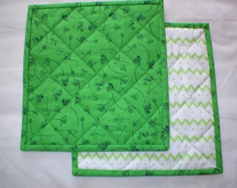 Mug Rugs - Snack Mats - Set of 2 Shamrock Print Mug Rugs that Reverse to Green and White Chevron - Quilted Cotton