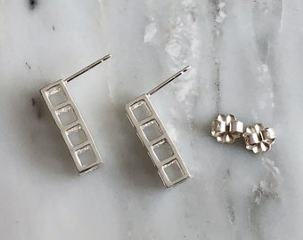 Sterling Silver 4 Cube Earrings, Minimal Stud Earrings, 3D Stud Earrings, Geometric Earrings, Small Contemporary Studs, Modern Studs, Cubes