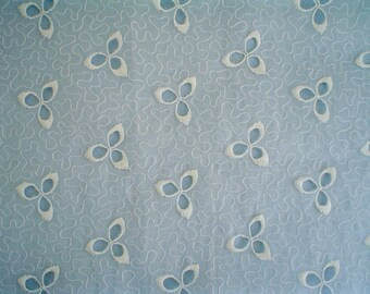 Vintage Cotton Eyelet Fabric Made in Switzerland Embroidered Floral Organdy Fabric by the Half Yard