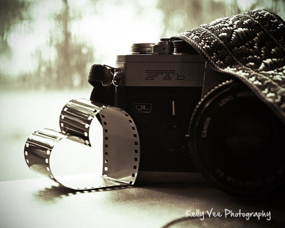 Items similar to camera love photograph photo heart vintage canon film black and white lover picture of love 8 x 10 fine art print on etsy