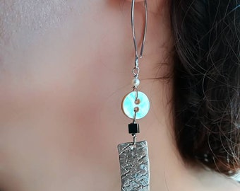 Earrings Handmade, unique, customizable, sterling silver, pyrite, Pearl, pearl buttons