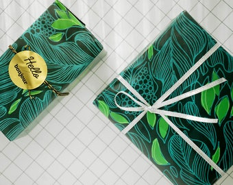 Dark Green Floral Wrapping Paper,Birthday Gift Wrap,Green Plants Wrapping,Holiday Gift Wrap