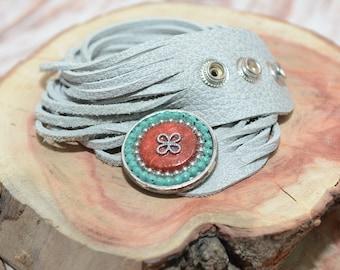 Wrap Bracelet, Leather Bracelet For Women, Leather Wrap Bracelet, Leather Straps Bracelet, Light Gray Bracelet, Tribal Jewelry, Boho Fashion