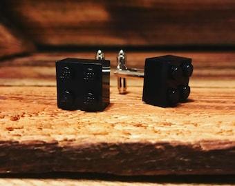 Black brick cuff links - dinner jacket cuff links - wedding - groom - best man - black tie