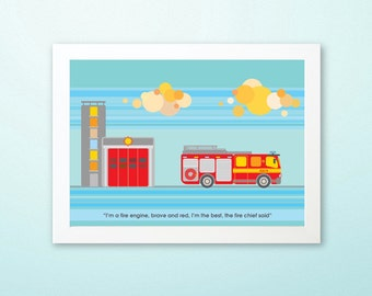 FIRE ENGINE - Children's / kid's / baby's personalised framed picture - Children's wall art - Baby's bedroom wall art - Child's gift
