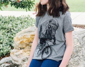 Buffalo on a Bicycle- Kids T Shirt, Children Tee, Tri Blend Tee, Handmade graphic tee, sizes 2-12