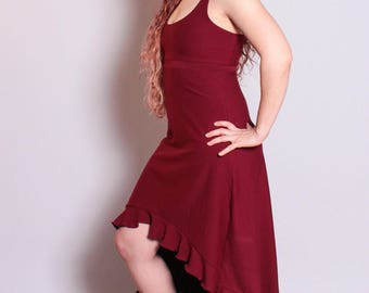 Ruby Dress, High Low Dress, Summer Dress, Ruffle Dress, Tank Dress, Bohemian, Pixie Dress, Hemp Clothing