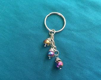 Purple Bead Keychain, Purple Keychain, Purple Key Charm, Purple Charm, Purple Purse Charm, Purple Keyring
