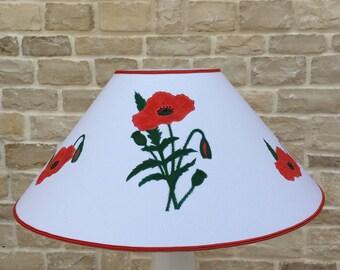 Lampshade, floor lamp shade, white hand-made lampshade, poppies, painted lampshade, lamp shade table, cotton lampshade