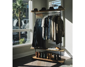 """48"""" Industrial Garment Clothing Rack with Top and Bottom Rustic Shelves,  Clothing and shoe storage. Loft shoe and coat storage, Coat Grab"""