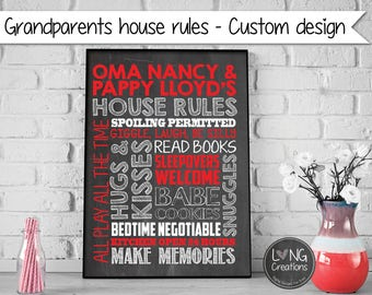Grandparents house rules - Gifts For Grandparents - Grandparents Wall Decor - Grandparents Day - Printable DIGITAL FILE -  nana / papa gift
