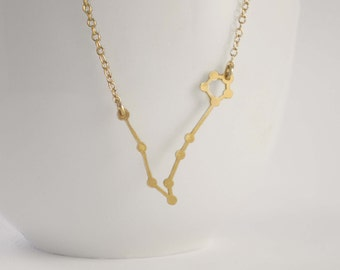 Pisces Constellation Necklace, Zodiac Constellation Necklace, Pisces Necklace, Astrology Necklace