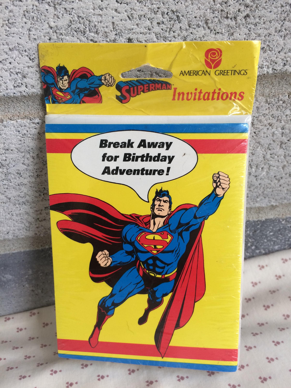 SUPERMAN Birthday Party Invitations 1992 Superman Party