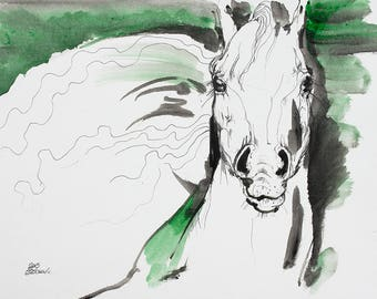 Wild horse, equine art, equestrian, horse portrait, original ink and acrylic speed painting