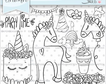 Unicorn Stamps, Unicorn Birthday Stamps, COMMERCIAL USE, Unicorn Party, Fairy Tale Stamp, Digital Stamp, Line Art, Unicorn Hand Drawn