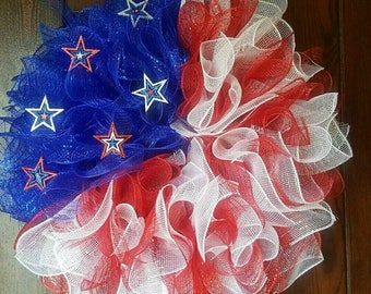 American Flag, Fourth of July Wreath, American Flag Wreath, Flag Wreath, Mesh Wreath, Red White and Blue, 4th of July Wreath, Military
